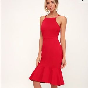 LULUS THIS COULD BE LOVE RED BODYCON DRESS NWOT